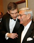 Secretary of Education Arne Duncan and Eli Broad at Obama's first inauguration ball.