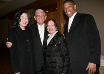 Left to right: Ms. Rhee, Eli Broad, Edythe Broad and Rhee's husband, Kevin Johnson, another piece of work.