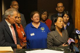 PAA Founding Member Helen Gym speaking at a press conference.