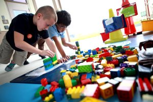 Sorting Lego blocks is part of the gym curriculum for third graders at Everglades Elementary.