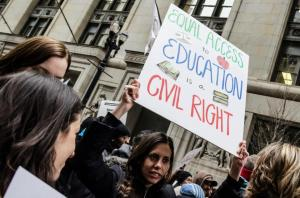 Protestors against the school closures in Chicago.