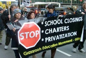 Teachers, parents and students marching against school closures in Chicago.