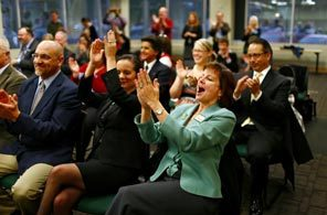 Oh the excitement when Seattle found out we were receiving RTTT funds! Front row center, Dr. Susan Enfield, former Acting Superintendent of Seattle Public Schools (SPS), now Superintendent at Highline School District, right front row, former Superintendent of Renton School District, Dr. Mary. Alice Heuschel, who brought TFA Inc. into the district over parents' objections last year and is now Chief of Staff for Washington Governor, Jay Inslee. Coincidence? 2nd row far right, our present SPS Superintendent, Jose Banda.