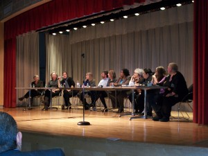 Speaking on a panel with Dr. Diane Ravitch and other national public education leaders for the Parents Across America kick-off event, Feb. 2011, New York. (Dr. Ravitch is seated on the left, I am in the middle)