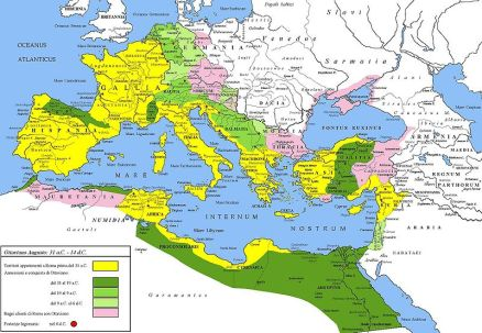 The extent of the Roman Empire during the rule of Augustus.