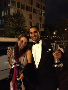 """Jesse Hagopian and Michelle Bollinger (editor of """"101 Changemakers,""""  a textbook featuring some of Jesse's work, a teacher in DC) leave the award ceremony with Jesse's  two Bammy Awards on Saturday, September 21st, in Washington DC."""