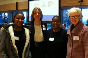 Marty McLaren, Garfield High School students & Sue Peters at MAP  Bridging the Gap breakfast.