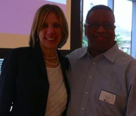 Larry Gossett & Sue Peters at MAP Bridging the Gap breakfast
