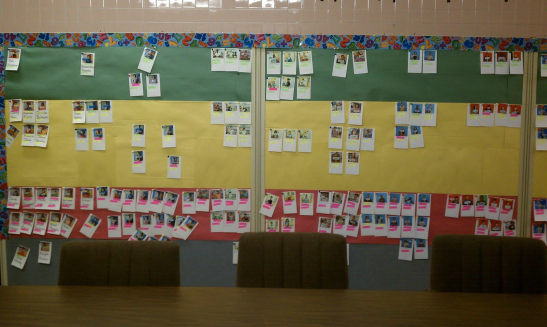 "Photos of students with their grades posted in the hallway of Beechwood Pre-K-5 in Pittsburgh, Pennsylvania per their test scores with students with the highest tesst scores on top and going down from there. The Wall of Shame for most students. Teachers now put up similar ""data boards"" in their classrooms. It's all part of the CCS plan."