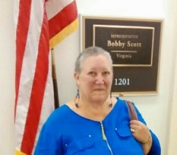 PAA co-founder Julie Woestehoff visits Congressman Bobby Scott's office.