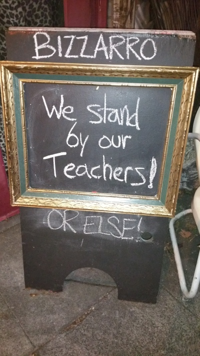 Local businesses are also showing their support of the teachers.