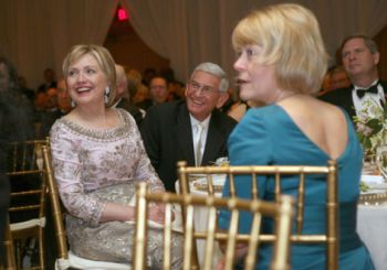 Hillary Clinton and Eli Broad on Jan. 20, 2009 at the inauguration ball of President Barack Obama.