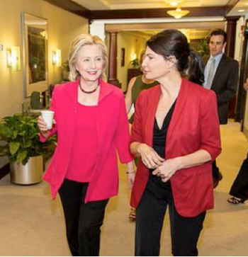 Candidate Hillary Clinton and NEA president Lily Eskelsen García