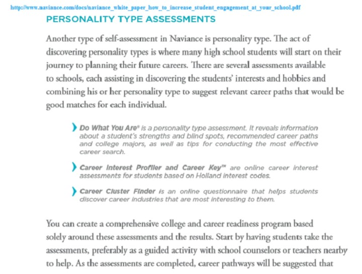 naviance personality type assesment